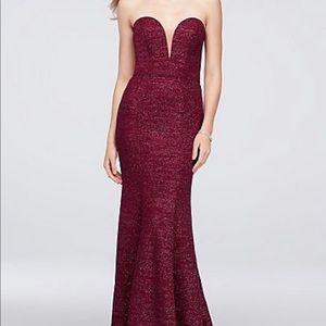 Strapless Plunge Glitter Knit Mermaid Gown